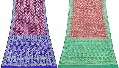 Pure Silk Vintage Saree Indian 2 Pcs Combo Sari Textile Fabric COM-PSSI-114