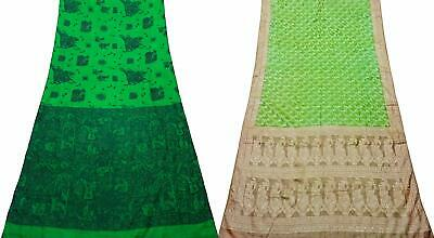 Pack of 2 Pure Silk Saree Vintage Sari DIY Home Décor Fabric COM-PSSI-56