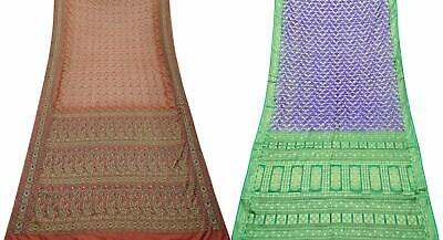 Vintage 2 Pcs Combo Pure Silk Saree 5 Yd Sari Curtain Drape Fabric COM-PSSI-71