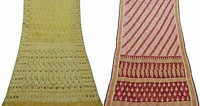 Pack of 2 Pure Silk Saree Vintage Sari DIY Home Décor Fabric COM-PSSI-110