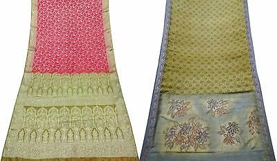 Pure Silk Vintage Saree Indian 2 Pcs Combo Sari Textile Fabric COM-PSSI-77