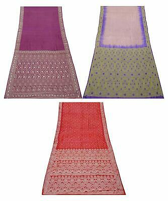 Vintage 3 Pcs Combo Pure Silk Saree 5 Yd Sari Curtain Drape Fabric COM-PSSI-148