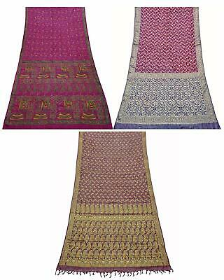 Pack of 3 Pure Silk Saree Vintage Sari DIY Home Décor Fabric COM-PSSI-129
