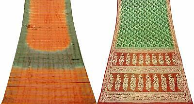 Indian Vintage Combo of 2 Pcs Saree Vintage Sari Sewing Craft Fabric COM-PSSI-09