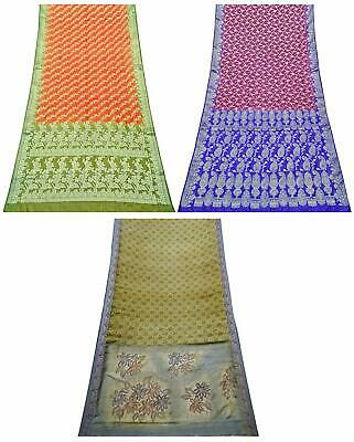 Indian Vintage Pure Silk Saree Women Sarong Dress Wrap Set of 3 Pcs COM-PSSI-132