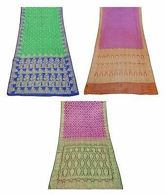 Pure Silk Vintage Saree Indian 3 Pcs Combo Sari Textile Fabric COM-PSSI-182