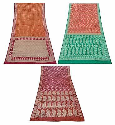 Pure Silk Combo of 3 Pcs Vintage Saree Indian Sari Craft Fabric COM-PSSI-183