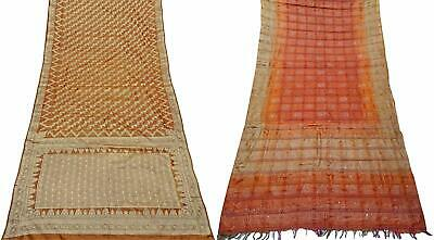 Indian Vintage Combo of 2 Pcs Saree Vintage Sari Sewing Craft Fabric COM-PSSI-81