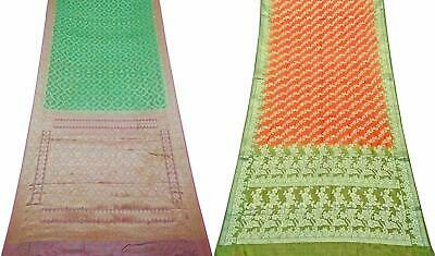 Indian Vintage Combo of 2 Pcs Saree Vintage Sari Sewing Craft Fabric COM-PSSI-55