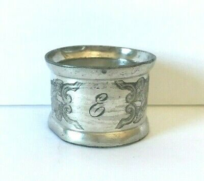 """Lovely Antique Sterling Silver Napkin Ring Engraved """"E"""" Butterflies, Flowers"""