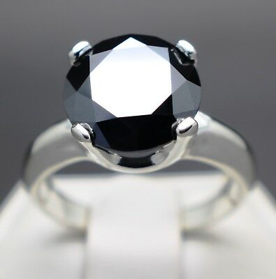3.25cts 10.09mm Real Natural Black Diamond Engagement Size 7 Ring & $1825 Value
