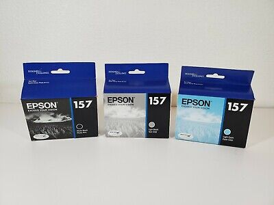 Genuine Lot 3 Epson #157 Ink T157120 T157520 T157720 Stylus Photo New