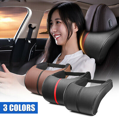 Car Seat Headrest Pillow  Memory Foam PU Leather Cushion Pad Neck Support Pillow