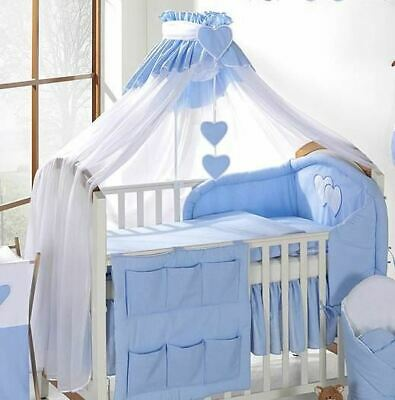 LUXURY BABY CANOPY / DRAPE  + HOLDER 480cm WIDTH Fit COT / COT BED - White/Blue