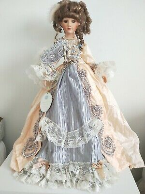 Marie Antoinette/Masquerade-style Porcelain Doll w/ original box, good condition