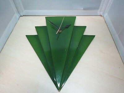 Past Times Art Deco Style Green Fan Wall Clock - 33B