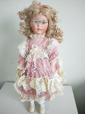 """Maisie"" Curly Blonde Primrose Hill Porcelain Doll, w/ box, stand,good condition"