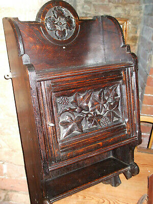 Antique carved oak Gothic wall cabinet, Victorian quality piece, with lock & key