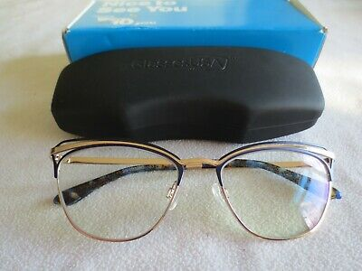 Amelia E gold / blue cat's eye glasses frames. 35-001280. With case.