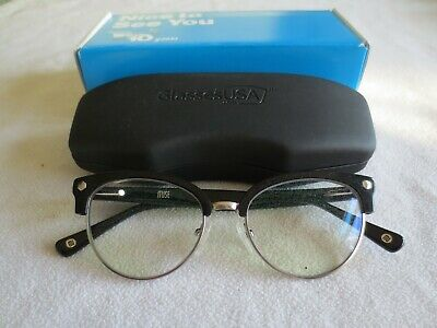 Muse black cat's eye glasses frames. 35-000517. With case. Clear lens.