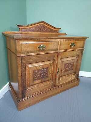 An Antique Arts and Crafts Victorian Oak Sideboard Cabinet ~Delivery Available~