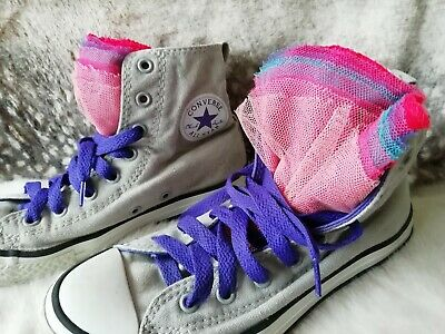 Converse all star girls Size 3, Grey pink mix purple laces trainers ex condition