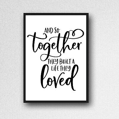 AND BUILT LIFE THEY LOVED print a4 gloss picture WALLART UNFRAMED TYPOGRAPHY