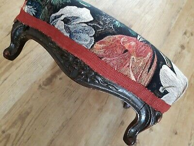 Vintage Carved Wood  Footstool