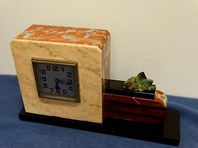 Tabletop Clock Design Art Deco' Vintage Marble French Square
