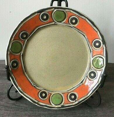 "BOYAN MOSKOV 8"" ABSTRACT CIRCLE PLATE - Tan, Brown, Orange, Green - EUC"