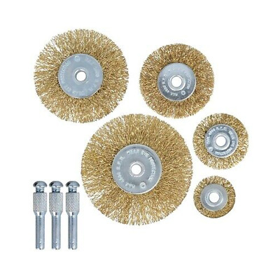 Heavy Duty 5Pc Drill Wire Wheel Cup Flat Brush Metal Cleaning Rust Sanding Set