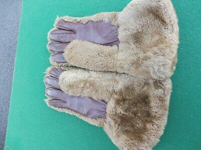 Vintage fur gauntlet style fleece lined leather gloves by Bon-Phit small size