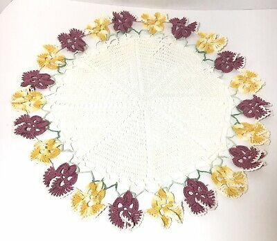 Vintage Crocheted Handmade Centerpiece Doily 17 Inch Purple And Yellow Pansies