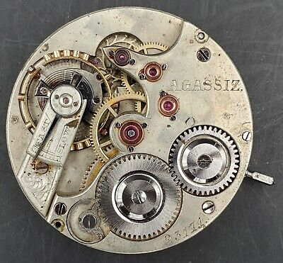 Rare High Grade Agassiz 16s Swiss Pocket Watch Movement #23174 Lever Set Running