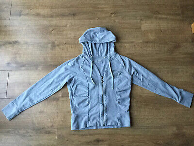 Guess Jeans Girls Grey Zip Up Hoodie - Size Large