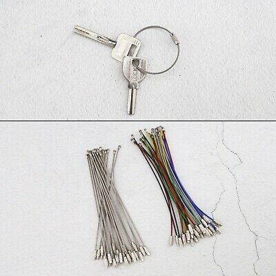Key Holders 24pcs Cable Wire Keyring Stainless Steel 1.5mm Dia Wire Cable Ring