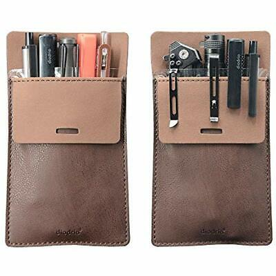 Pocket Protector, Leather Pen Pouch Holder Organizer, Shirts Lab Coats, 5 Pens,