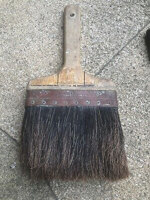 Vintage Paint Brush British Made Decorators Tools Pure Bristle Copper Band BD