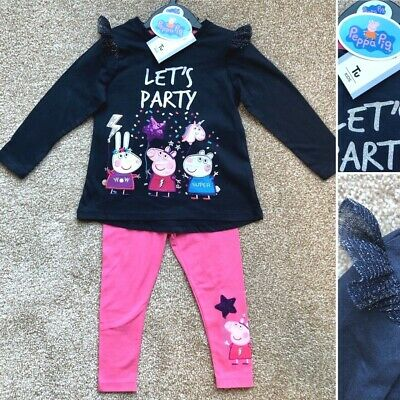 Tu PEPPA PIG Baby 2 Piece Top & Leggings Set Outfit Clothes 2-3 Years - New!