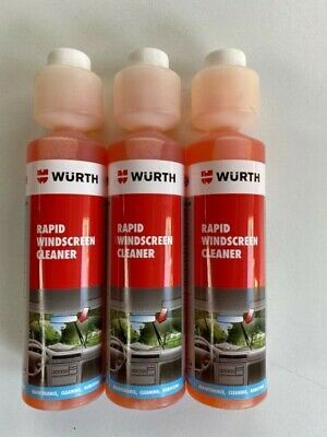 **3 x 250ml WÜRTH RAPID WINDSCREEN CLEANER CONCENTRATE SCREEN WASH***