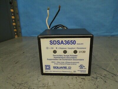 Square D SDSA3650 Ser 001 Secondary Surge Arrester w/ Lights 650V AC Max Used