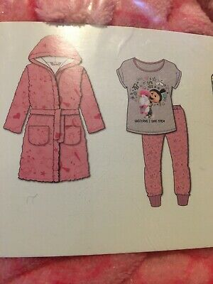 girls pjs 7-8 Dressing Gown, Pink , Despicable Me 3 New