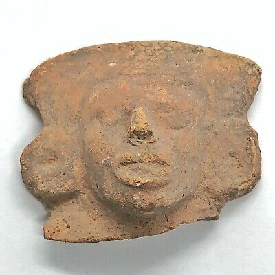 Pre-Columbian Central American Archeological Human Face Clay Pottery Artifact C
