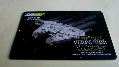 Star Wars Millennium Falcon Subway Gift Card Unused No Value Bilingual L@@K Nres