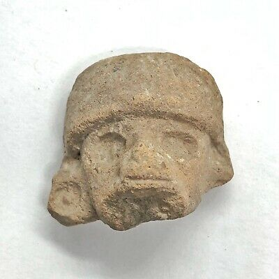 Pre-Columbian Central American Archeological Human Face Clay Pottery Artifact O
