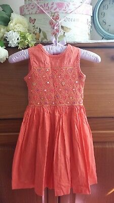 Girls Orange Cotton Sleeveless Dress by Marks & Spencer Age 4 yrs Excellent