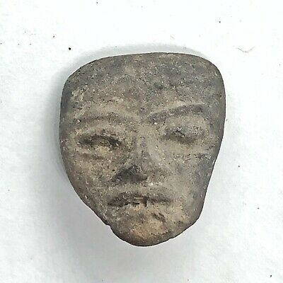 Pre-Columbian Central American Archeological Human Face Clay Pottery Artifact Q