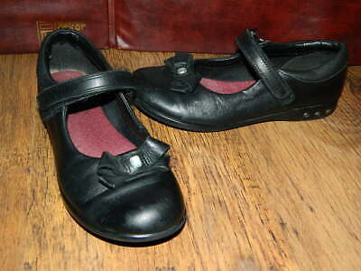 girls Clarks black leather bow school shoes with fasteners uk 1 E eur 33
