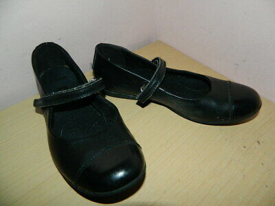 girls black leather Clarks school shoes with fasteners uk 2 eur 34