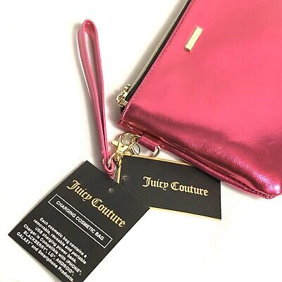 NWT JUICY COUTURE Pink Phone Charging Clutch Wallet Designer Cosmetic Bag